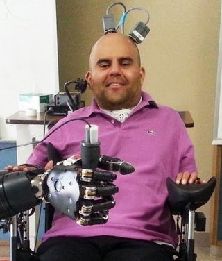 Patient with neural prosthetic device