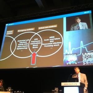 Jean-Louis Vincent presenting at ESICM 2015 congress
