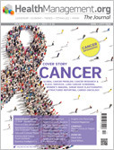HealthManagement.org The Journal Cover showing cancer 'ribbon' made up of people coming together