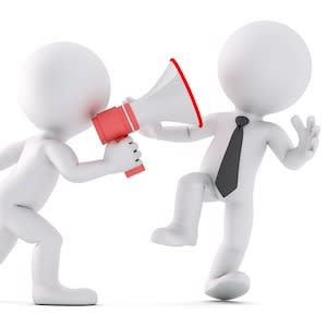 Cartoon of person with megaphone shouting at another person, credit Pixabay