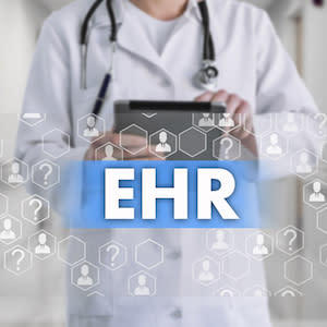 Image of doctor and abstract EHR diagram, credit iStock