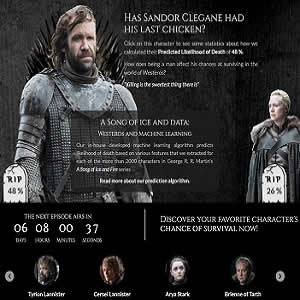 The main page of https://got.show presents two main characters and their predicted likelihood of death in the TV show.